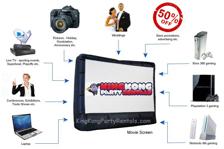 outdoor cinema rental, houston, tx - kingkongpartyrentals.com