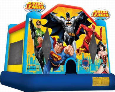 justice league moonwalk rental, houston, tx - kingkongpartyrentals.com