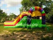 rainbow bounce toddler house and 2 slide moonwalk rental, houston, tx - kingkongpartyrentals.com