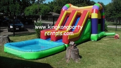 Toddler Funhouse Moonwalk with Dual Slides and Pool rental, houston, tx - kingkongpartyrentals.com