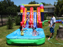 rainbow bounce toddler house and 2 slide moonwalk with pool rental, houston, tx - kingkongpartyrentals.com